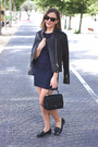Navy-filippa-k-dress-black-the-kooples-jacket-black-anya-hindmarch-bag