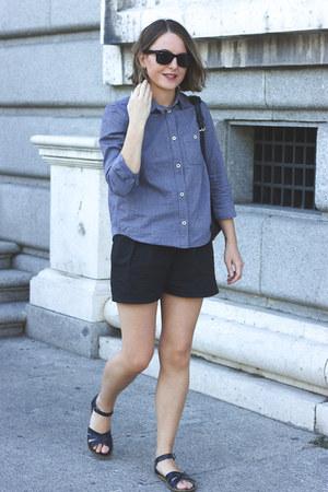 violet APC shirt - navy Louis Vuitton bag - navy Wood Wood shorts