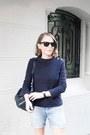 Navy-louis-vuitton-bag-light-blue-lee-shorts-black-ray-ban-sunglasses