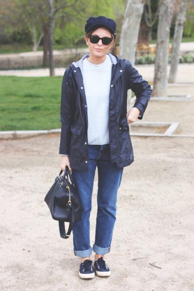 navy MIH Jeans jeans - navy Petit Bateau jacket - navy Louis Vuitton bag