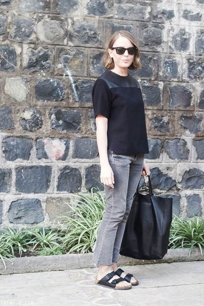 black Celine bag - heather gray Topshop jeans - black Ray Ban sunglasses