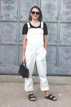 black Anya Hindmarch bag - black ray-ban sunglasses - dark gray acne t-shirt