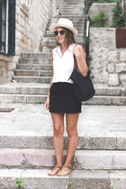 white Equipment shirt - eggshell JCrew hat - black longchamp bag
