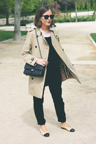 black Chanel bag - camel Burberry coat - off white The Kooples shirt