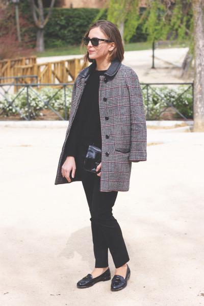 black The Kooples sweater - heather gray SANDRO coat - black Reed Krakoff bag