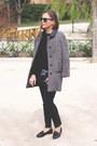 Heather-gray-sandro-coat-black-the-kooples-sweater-black-reed-krakoff-bag
