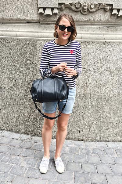 navy Comme des Garcons t-shirt - navy Louis Vuitton bag - light blue Lee shorts