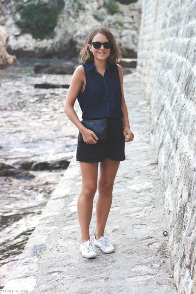 navy acne shirt - navy Celine bag - navy Wood Wood shorts