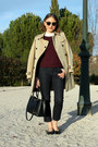 Burberry-coat-acne-jeans-apc-sweater-zara-shirt-ray-ban-sunglasses