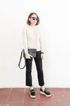 black Saint Laurent bag - dark gray Topshop jeans - ivory SANDRO sweater