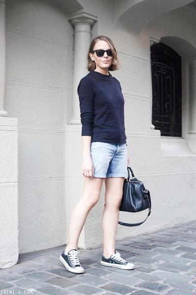 light blue Lee shorts - navy Louis Vuitton bag - black Ray Ban sunglasses