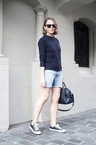 light blue Lee shorts - navy Louis Vuitton bag - black Ray Ban sunglasses