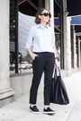 Light-blue-club-monaco-shirt-black-celine-bag-black-the-row-sunglasses