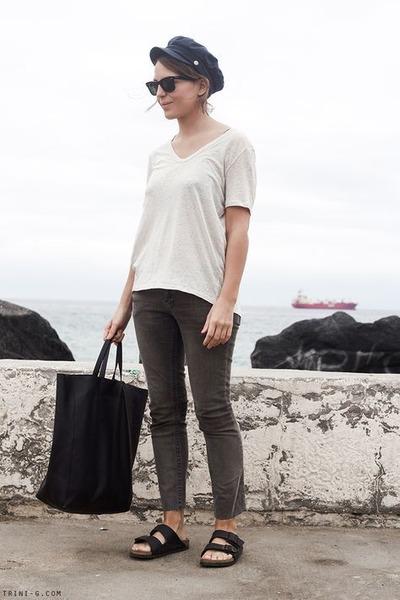 black Celine bag - gray Topshop jeans - navy Barbour hat