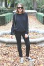 Black-acne-jeans-black-the-kooples-jacket-dark-gray-equipment-sweater