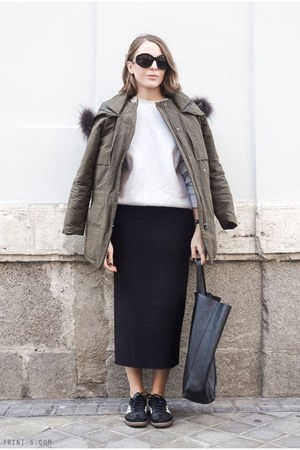 black Isabel Marant skirt - olive green The Kooples jacket - black Celine bag