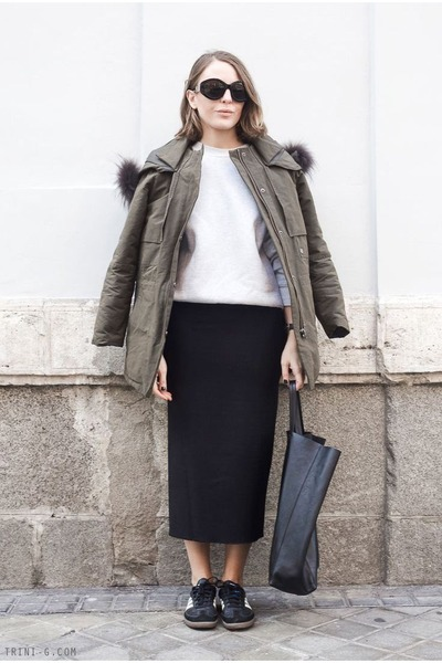 black Isabel Marant skirt - olive green The Kooples jacket - black Celine bag