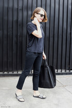 black Celine bag - black Ray Ban sunglasses - black acne t-shirt