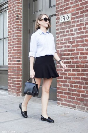 black Anya Hindmarch bag - light blue Club Monaco shirt