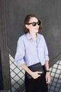 Light-blue-burberry-shirt-navy-celine-bag-black-ray-ban-sunglasses