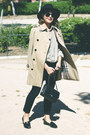 Black-miu-miu-shoes-tan-burberry-coat-beige-vintage-shirt-black-chanel-bag