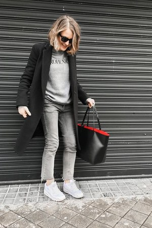 black Claudie Pierlot coat - silver Topshop jeans - black Mansur Gavriel bag