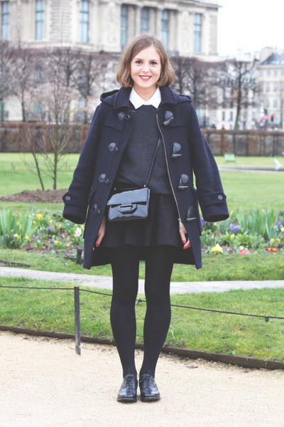 black CHURCHS shoes - navy Barbour coat - dark gray Equipment sweater