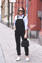 light blue Club Monaco shirt - black Anya Hindmarch bag