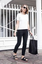 black Celine bag - black ray-ban sunglasses - white The Kooples top