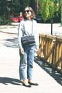 Light-blue-claudie-pierlot-jeans-black-chanel-bag-black-ray-ban-sunglasses