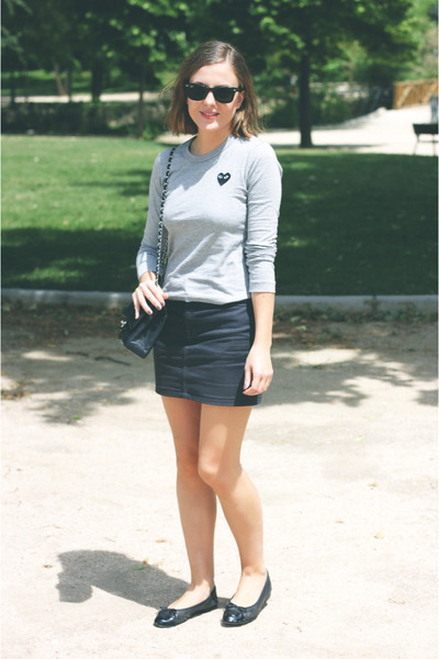 charcoal gray American Apparel skirt - silver Comme des Garcons shirt