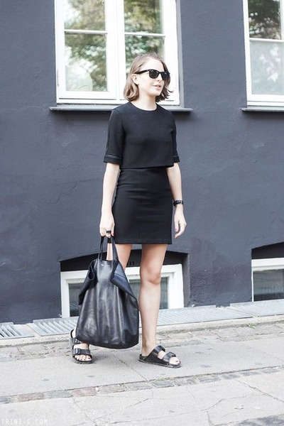 black The Kooples dress - black Celine bag - black Ray Ban sunglasses