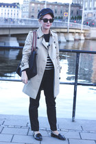 black longchamp bag - beige Burberry coat - black ray-ban sunglasses