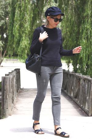 navy Petit Bateau sweater - heather gray The Kooples jeans