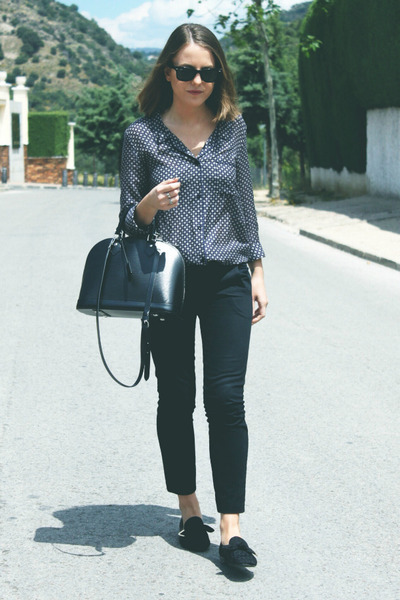 black Louis Vuitton shoes - navy The Kooples shirt - black Louis Vuitton bag