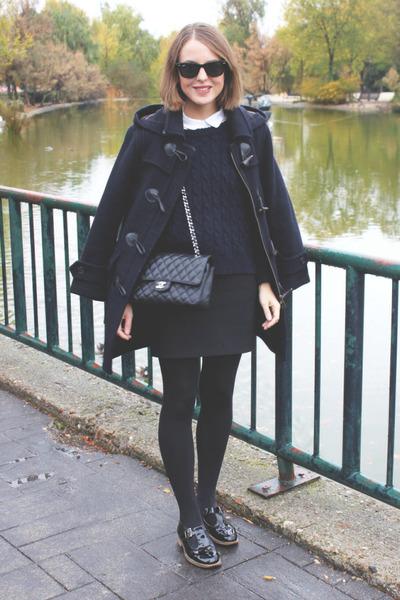 black Chanel bag - navy SANDRO sweater - white The Kooples shirt