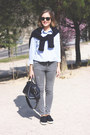 Heather-gray-the-kooples-jeans-navy-sandro-sweater