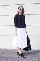 white MaxMara skirt - charcoal gray Equipment sweater - black Celine bag