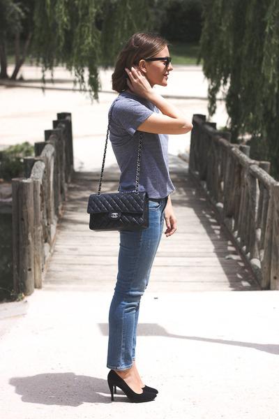 black Chanel bag - sky blue Gap jeans - black ray-ban sunglasses