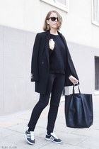 black The Kooples coat - black acne jeans - black The Kooples sweater
