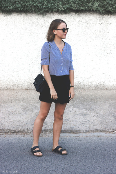 navy The Kooples shirt - black Chanel bag - black ray-ban sunglasses