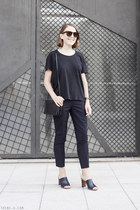 navy Celine bag - brown Celine sunglasses - navy Acne Studios t-shirt