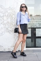 black t by alexander wang skirt - periwinkle The Kooples shirt