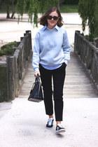 black Louis Vuitton bag - light blue Club Monaco shirt