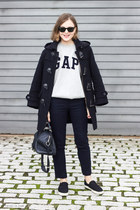 navy Barbour coat - navy Louis Vuitton bag - black ray-ban sunglasses