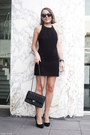 Black-dress-black-bag-black-sunglasses-black-heels-black-watch
