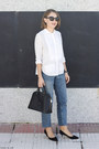 Sky-blue-claudie-pierlot-jeans-white-the-kooples-shirt