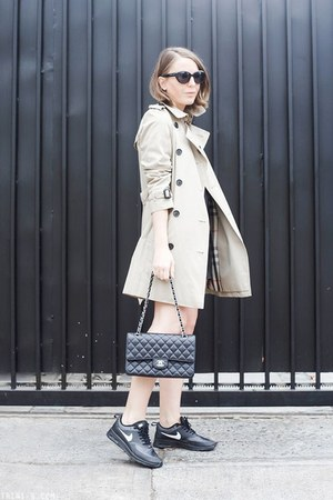 black The Kooples dress - beige Burberry coat - black Chanel bag
