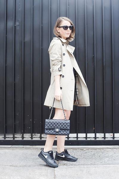 beige Burberry coat - black The Kooples dress - black Chanel bag
