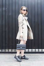 beige Burberry coat - black The Kooples dress - black Chanel bag